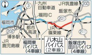 八木山バイパス4車線化進捗状況の図
